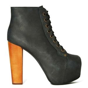 Jeffrey Campbell Lita Booties in Black Leather